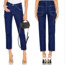 купить!  Женская мода Среднего роста Loose Special Cut боковые карманы Hit цвет прямые синие джинсовые брюки