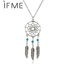 Antique Silver Color Alloy Girl Chain necklaces For Women Vintage Retro Dream Catcher Leaves Pendant Necklace  Jewelry collares