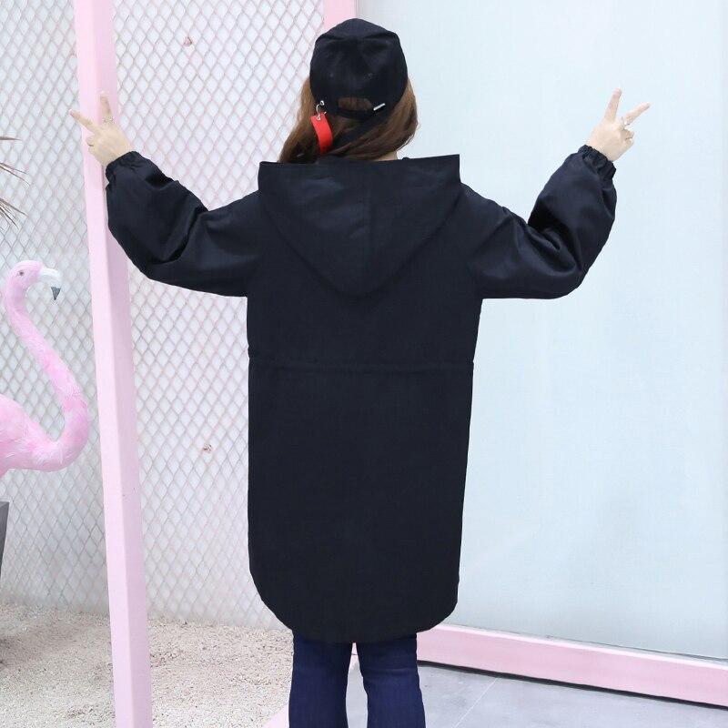 Coton Pleine Tranchée Coréen Xl Noir Décontracté Capuche Hiver 2019 Manches Top Lady Vente Style Grande blanc Taille Manteaux 4xl Lâche Nouveau Femmes Printemps À EwIqEO