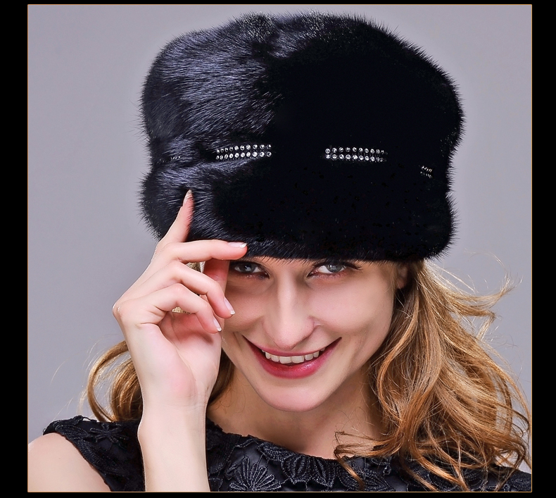 HM017 Real genuine mink  fur hat  Winter hats for women whole piece mink fur hats Winter Cap women s winter beanie hat wool knitted cap shining rhinestone beanie mink fur pompom hats for women