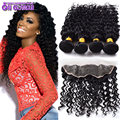 Malaysian Deep Curly Virgin Hair With Closure 4Pcs Ear To Ear Lace Frontal Closure With Bundles Malaysian Deep Wave Human Hair