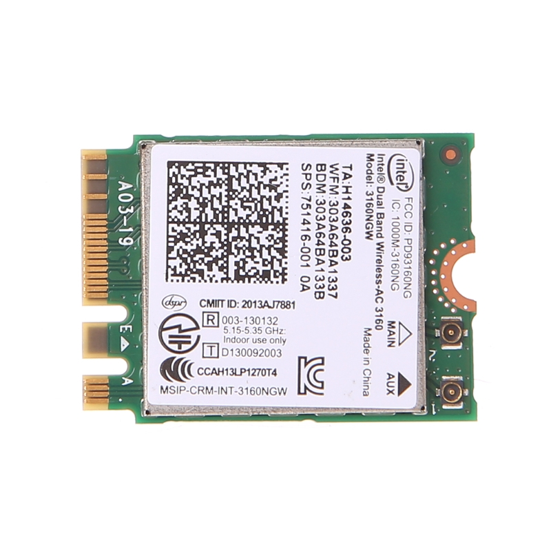 Intel Dual Band Wireless 802.11 AC 3160 NGW NGFF Bluetooth 4.0 Wifi WLAN Card