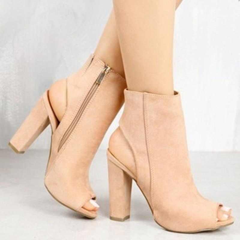 Yeni kadın yarım çizmeler Faux süet deri rahat açık Peep Toe yüksek topuklu fermuar moda kare kauçuk siyah ayakkabı boyutu 35-43