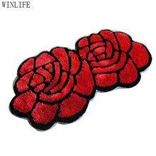 WINLIFE Unique 3d Rug Designer 3d Carpet Home Decorative Rose Mat Red