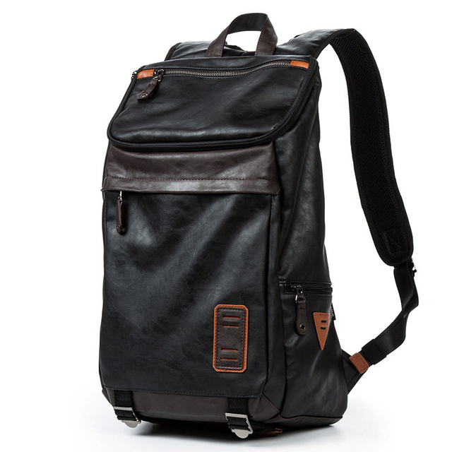4f049637093 Japan Style Fashion Large Capacity Casual Bag Men Black PU Laptop Backpack  Designer Trendy Zipper Breathable Travel Bag