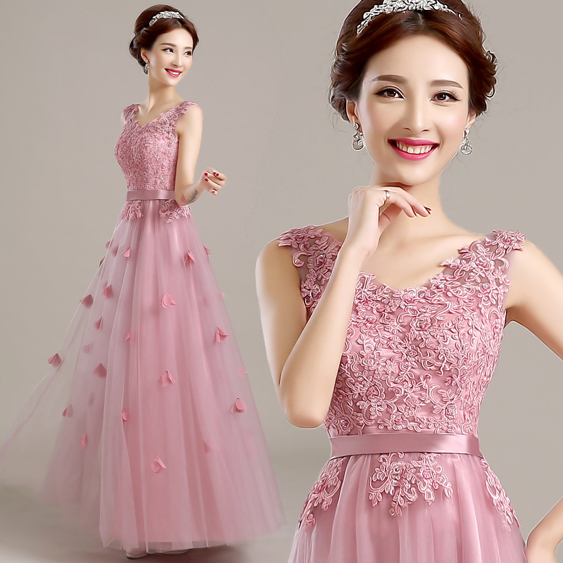 a9c12ee9f85 long style bridesmaid dresses lace flower sister party dress wedding guest  dresses vestidos de festa longo