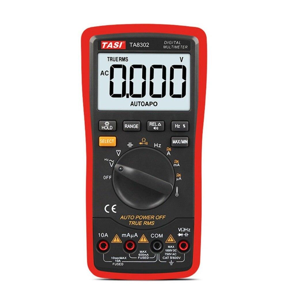 Digital LCD Multimeter TA8302 DC/AC Volt Amp Meter Handheld Auto Ammeter Ohm Diode Capacitance Tester TRMS Voice Broadcast