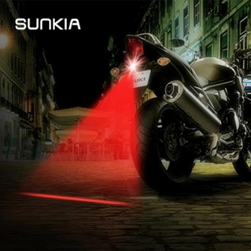1Pcs SUNKIA Newest Anti Collision Rear-end Motorcycle Laser Tail Fog Light Brake Parking Lamp Rearing Warning Light Car Styling
