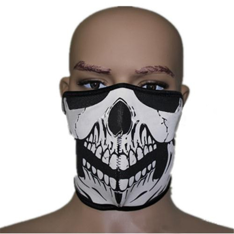 Snowboard Bike Motorcycle Skull Mask Half Face Skeleton Cosplay Navy Seal SWAT