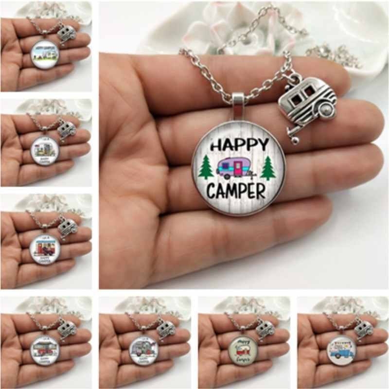 Happy Camper-Car Round photo Glass Pendant necklace With Camper Charm