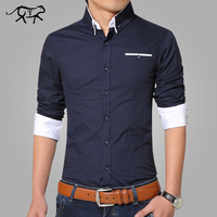 2016 Summer Casual Shirt Men Cotton Mens Dress Shirts Solid Slim Fit Plus Size Long Sleeve