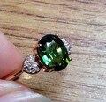 1.5 CARAT corazón anillo de Diamantes reales Anillo de Bodas de la Piedra Preciosa Verde Para Las Mujeres 18 K de Oro rosa Anillo de Compromiso Joyería Fina/partido