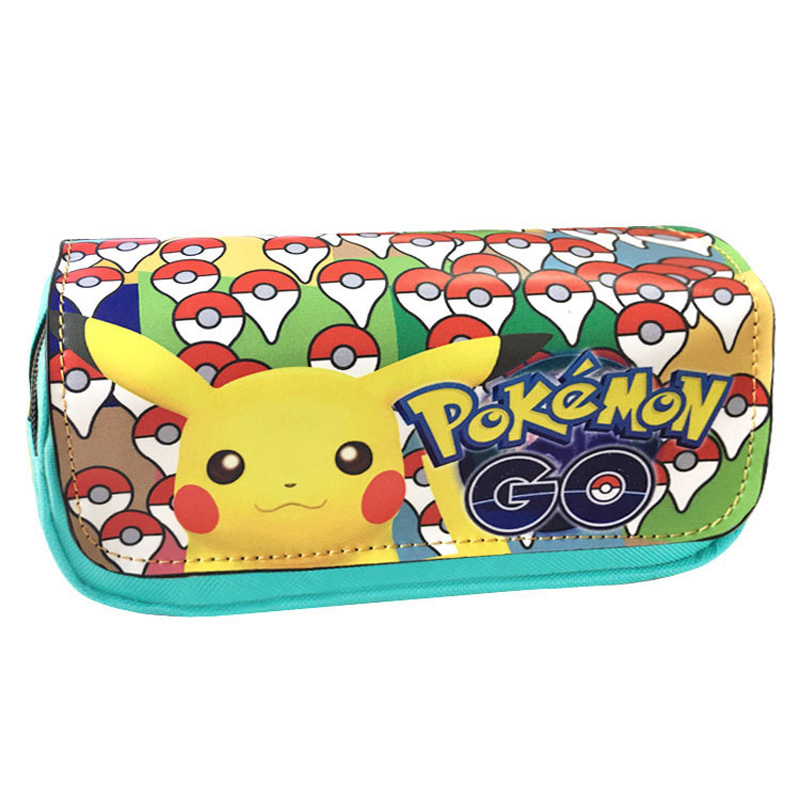 Pocket Monster Pencil Bag Pouch Wallet Pokemon Go Game Lovely Picacho Zipper Pen Purse Student Stationery Cartoon Anime Wallets