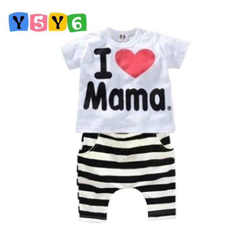Kiskereskedelem 2018 Nyári Gyermekruházat Készlet fiúk lányok I Love Papa és Mama rövid ujjú póló + nadrág öltöny baba gyerek pizsama készlet