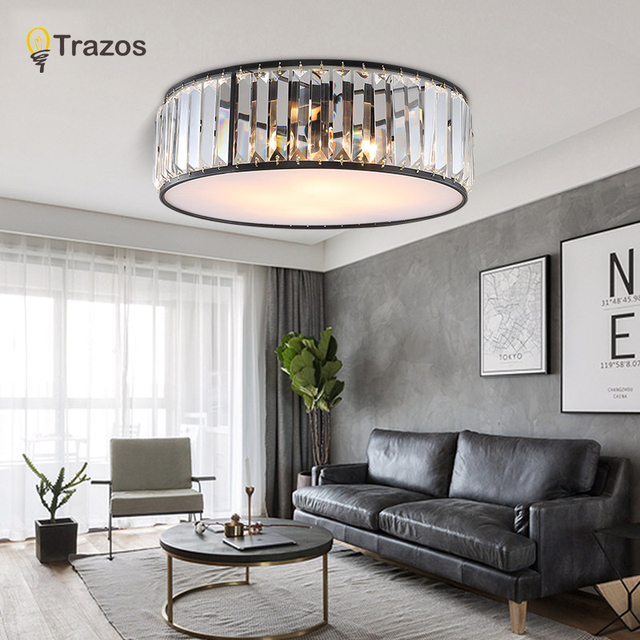 TRAZOS LED Ceiling Lights with K9 crystal Modern Round Ceiling Lamp hardware Bedroom Luminaire Black Dining Lighting Fixture