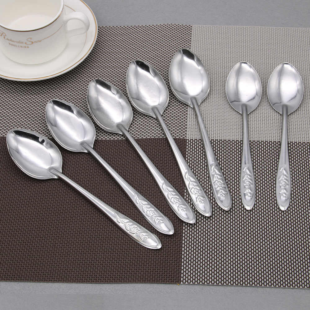 1PC Long Handle Stainless Steel Spoon Ice Cream Cocktail Coffee Spoon Soup Teaspoons Kitchen Accessories