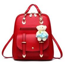 Frauen PU Tasche Mode Frische Schultertasche Top-qualität 10 Farben Handtasche Verziert Bär Lagre Kapazität Tote Weiblichen Crossbody-tasche