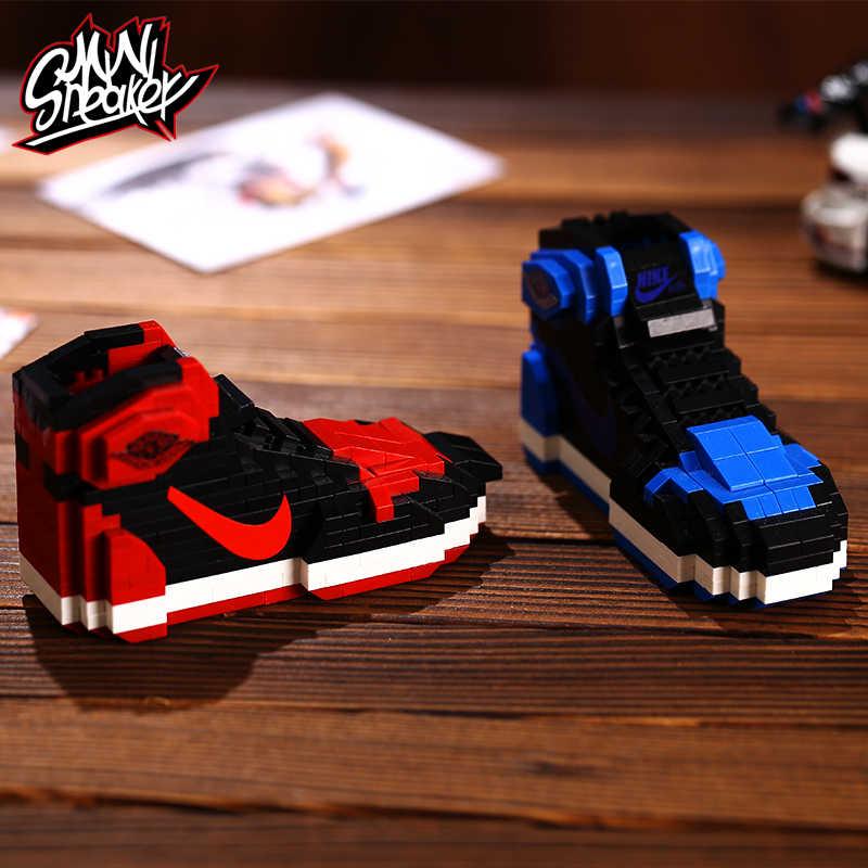 Aj small particles mini miniature building blocks Joe 1 cherry wood flower road Chicago sneakers building blocks boyfriend creat