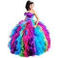 Simple Rainbow Quinceanera Dresses 2016 Organza Ball Gown Prom Dresses Sleeveless vestidos de 15 anos Sweetheart Free Shipping