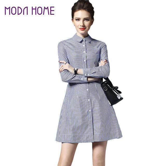 4526bf76b7c9f0 Mode Vrouwen Jurken Brazilië Slanke Blauw Wit Gestreepte t-shirt Jurk Lange  Mouwen Casual Dress