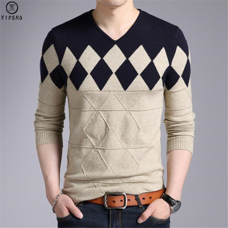 Cashmere Wool Sweater Men 2019 New Autumn Winter Slim Fit Pullovers Men Argyle Pattern V-Neck Pull Homme Christmas Sweaters