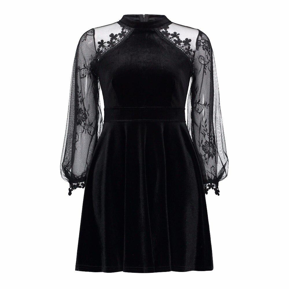 Femmes Gothique Dentelle Robes À Manches Longues Sexy Voir À Travers Patchwork Robe De Mode Noir Velours Automne Rencontre Parti Robes