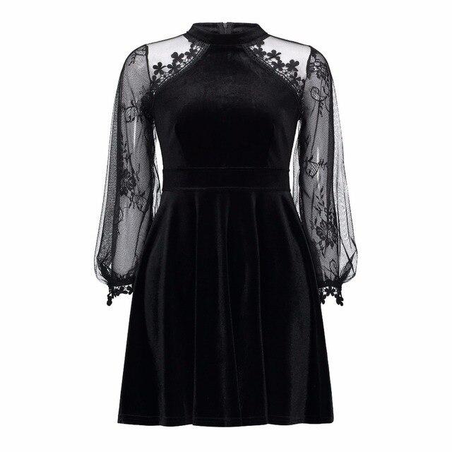 ae0c2cf32 Mujeres gótico Vestidos de encaje de manga larga Sexy ver a través de  Patchwork moda negro