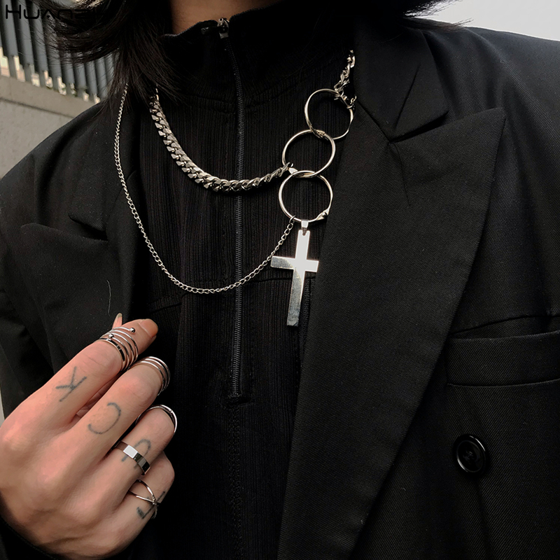 HUANZHI 2019 Punk Cool Hiphop Double Layer Silver Metal Round Circle Chain Link Cross Pendant Necklace For Women Men Party
