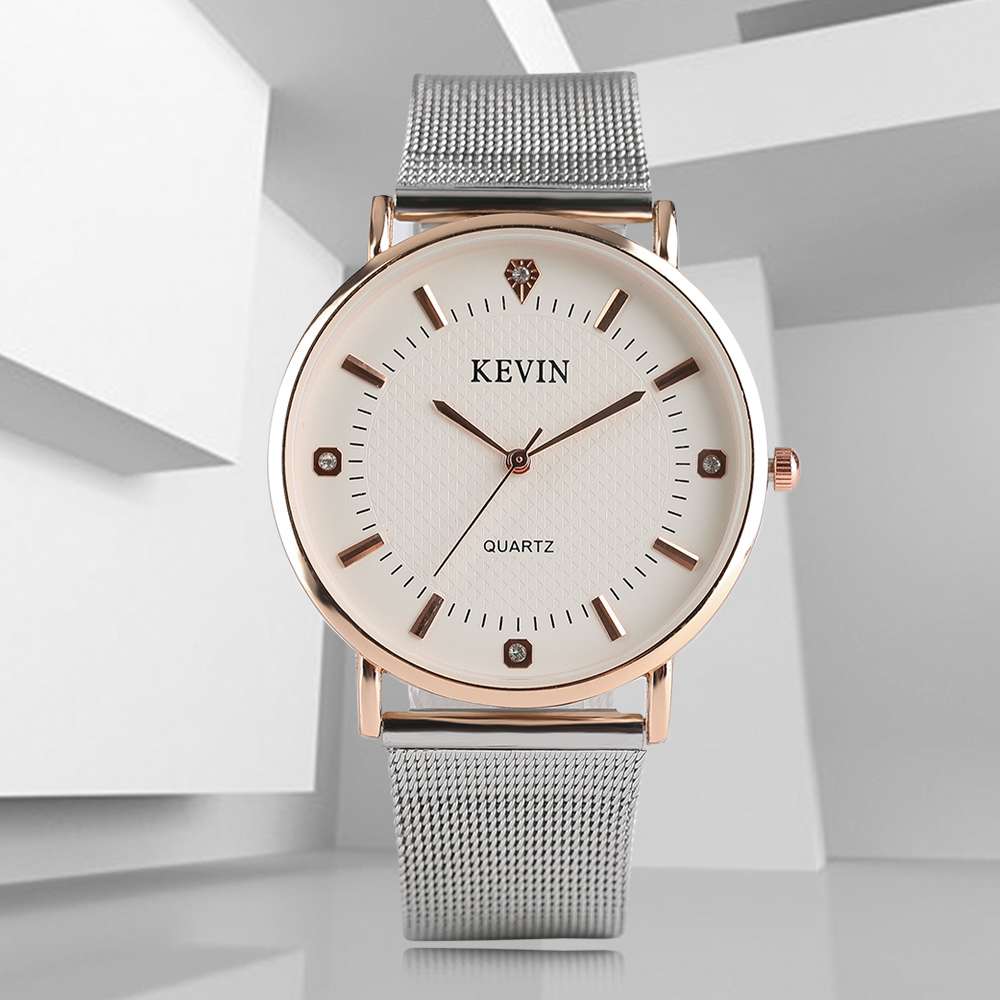 KEVIN Relogio Simple Style Elegant Mesh Stainless Steel Band Quartz Wrist Watch Men Watches Men's Male Clock Pin Buckle Hours kevin simple style elegant mesh stainless steel band strap quartz wrist watch men women watches neuter clock hours gift relogio