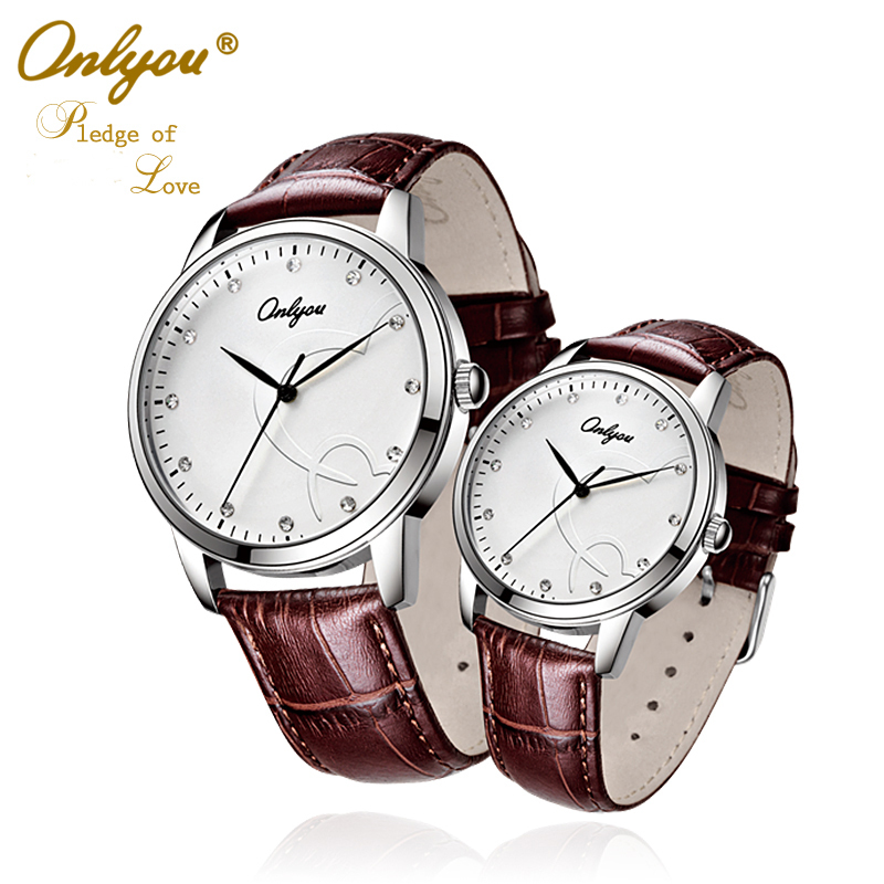 Lovers Watches Men Women Quartz Leather Watch Onlyou Brand Fashion Casual Boys Girls Business Male Female Wristwatches 8817 2016 new hot sale brand magic star black white analog quartz bracelet watch wristwatches for women girls men lovers op001