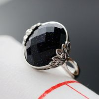 Ecoworld Ge Hand Set Sand Stone Jewelry Wholesale 925 Sterling Silver Ring Silver Ring Nvjie Retro