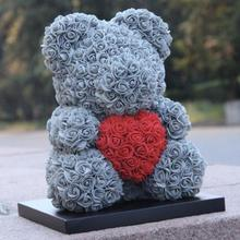 цена на 40cm rose Teddy Bear Flowers Wedding Decoration foam bear with Love Heart Rose Bear Crafts Valentines Day Gift for Girls