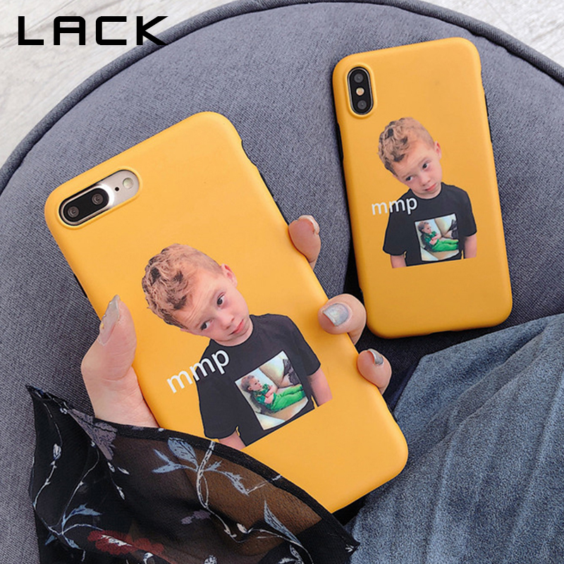 LACK Funny Cute Boy Insets Phone Case For iphone 7 Case For iphone X 6 6S 7 8 Plus Back Cover Fashion Cartoon Yellow Cases Funda