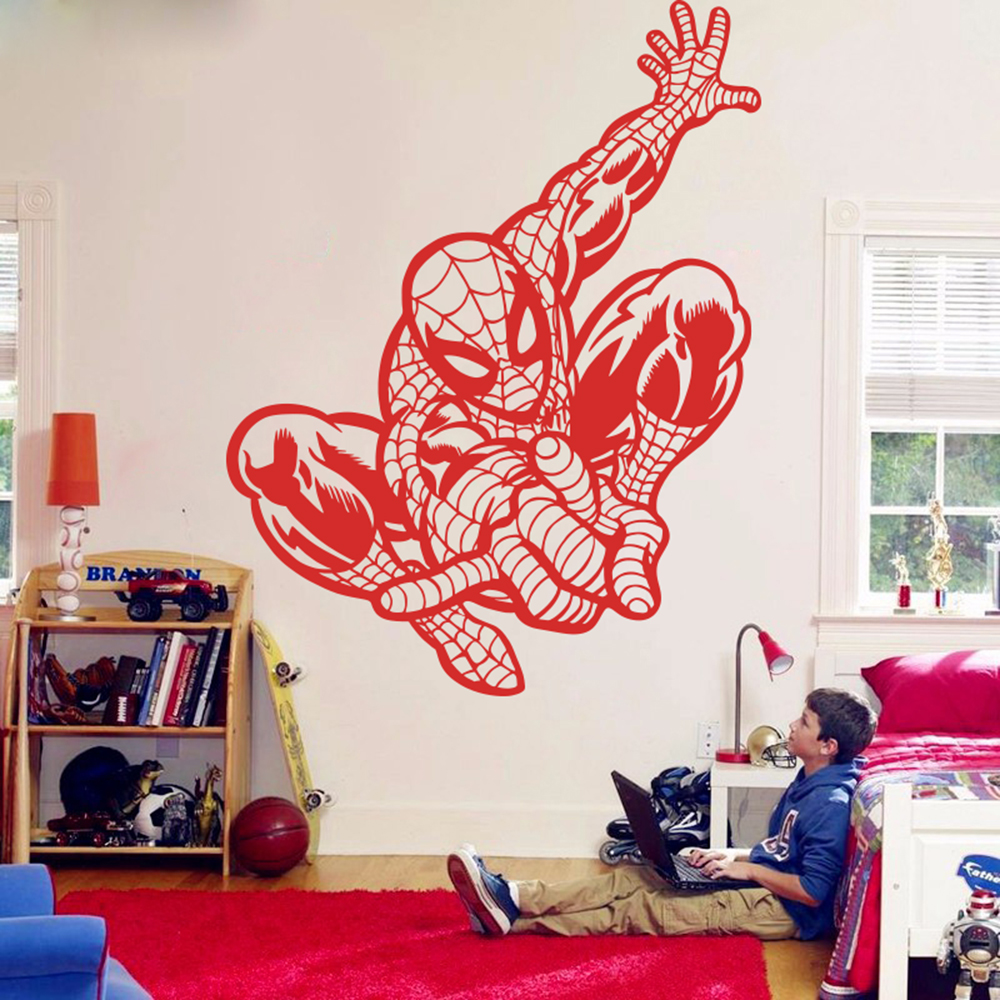 US $10.94 11% OFF|Large Spiderman Avengers Wall Sticker Living Room Boy  Room Movie Superhero Wall Decal Bedroom Vinyl Home Decor Mural Art-in Wall  ...