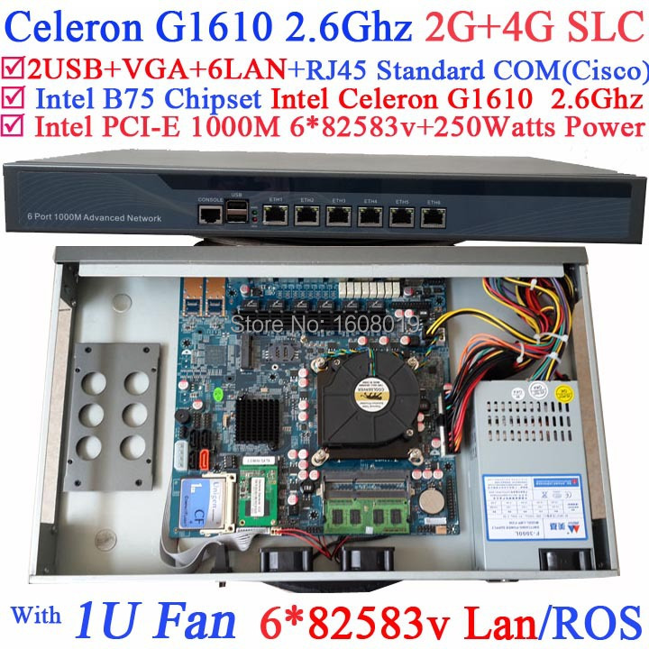 B75 chip 1U network server with Intel Celeron G1610 2.6Ghz 6*1000M 82583v Lan Wayos PFSense Mikrotik ROS support 2G RAM 4G SLC