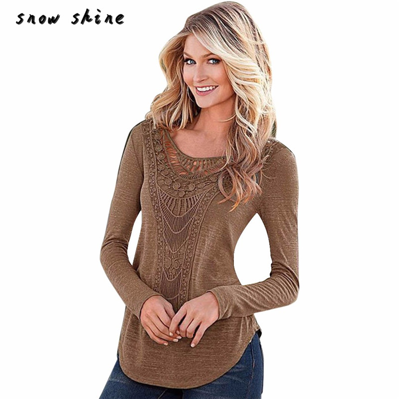 snowshine YLIW Women Loose Long Sleeve Tops  Shirt Casual Hollow Crochet T-Shirt free shipping