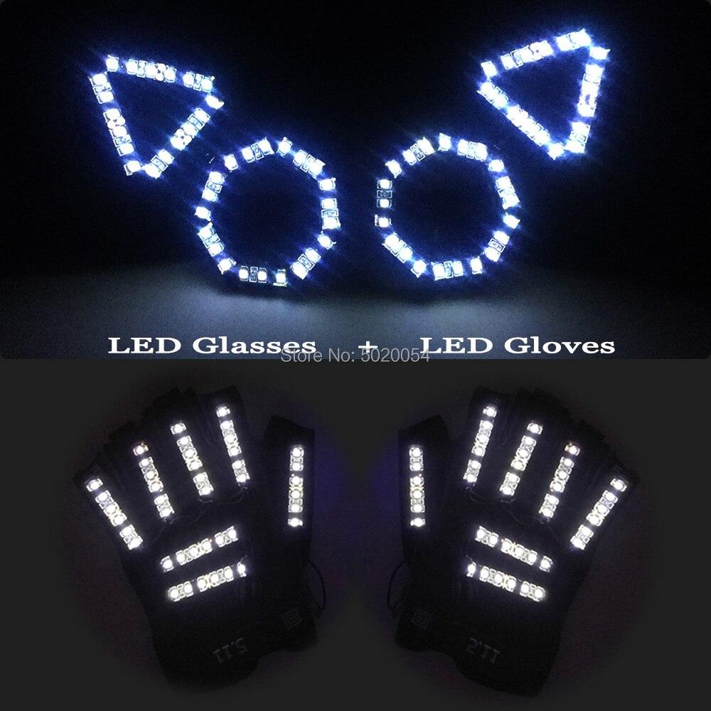 Mode nouveau chat oreilles lumineux lunettes à Led Led lumineuse gants femmes fête décor néon éclairer rond lunettes Led gants lumineux