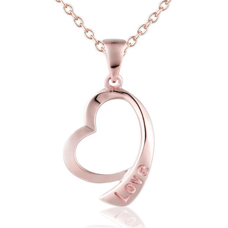 Hollow Letter Love Necklace Pendant Personality Peach Heart Pendant For Women 18K Gold Party Wedding Jewelry Christmas Gift цена 2017