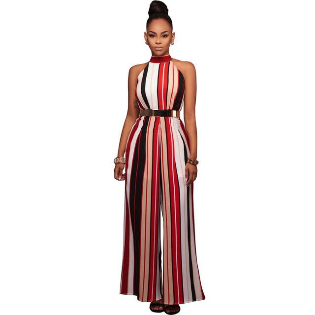 2985dbc70ca Fashion women sexy halter neck vertical striped jumpsuit romper overalls  fashion casual high waist playsuits wide leg pant YF413