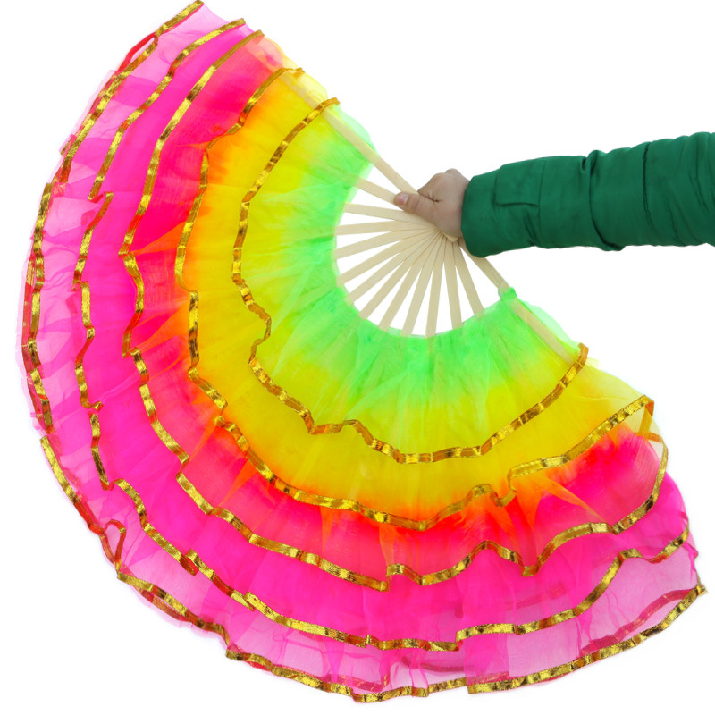 Chinese Style Christian Dance Fan Five Layers Of Yarn Hand Folding Fan Wedding Home Decoration Art Crafts Gift