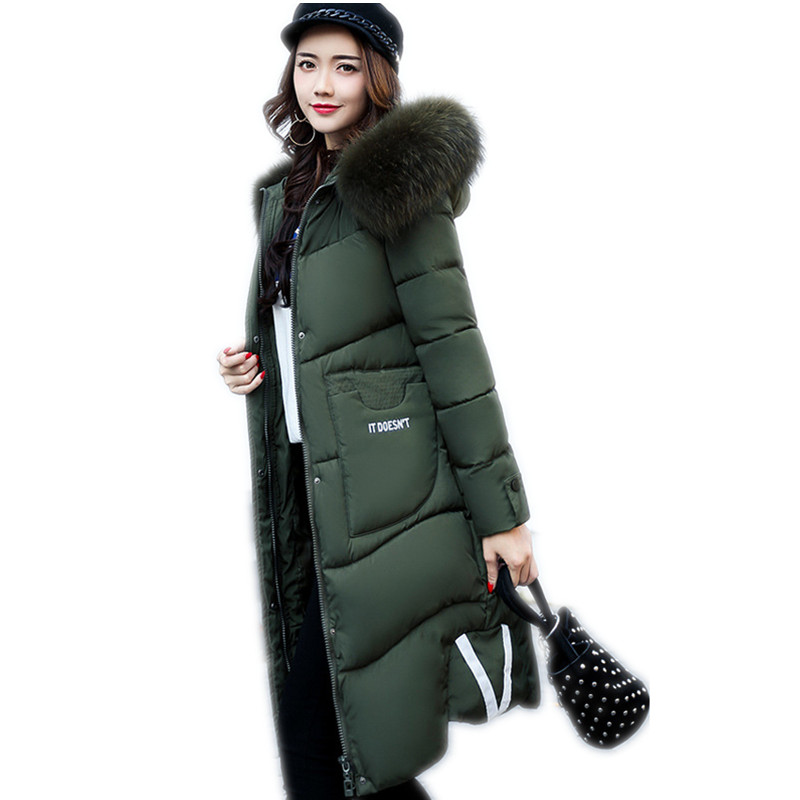 three-quarter coat 2017 latest winter woman jacket  Thick warm down cotton Hooded Fur collar female coat plus size MY007 woman winter jacket fur natural fox fur genuine leather jacket long winter coat sleeve three quarter thick womens down jackets