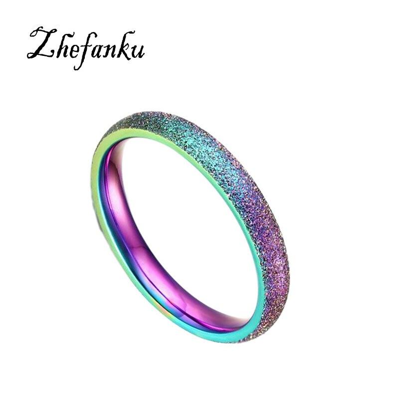 Fashion Simple Ring Female Stainless Steel Ring Colour Scrub Rainbow Color Ring Sandblasting