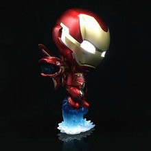 Iron Man shake head and eye led luminous Action Figures PVC brinquedos Collection toys for Vehicle mounted ornament