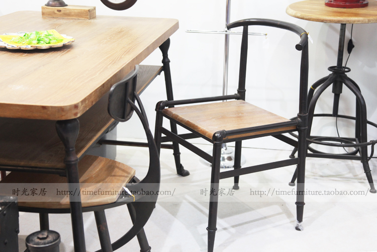 Industrial Style Dining Chairs Swivel Chair Bearing American French Village Loft Retro Furniture Personality Cafe Bar Table