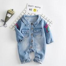 2017 automne Doux Denim Bébé Barboteuse Graffiti Chat Infantile Vêtements Nouveau-Né Salopette Bébés Garçon Filles Costume Cowboy Mode Jeans
