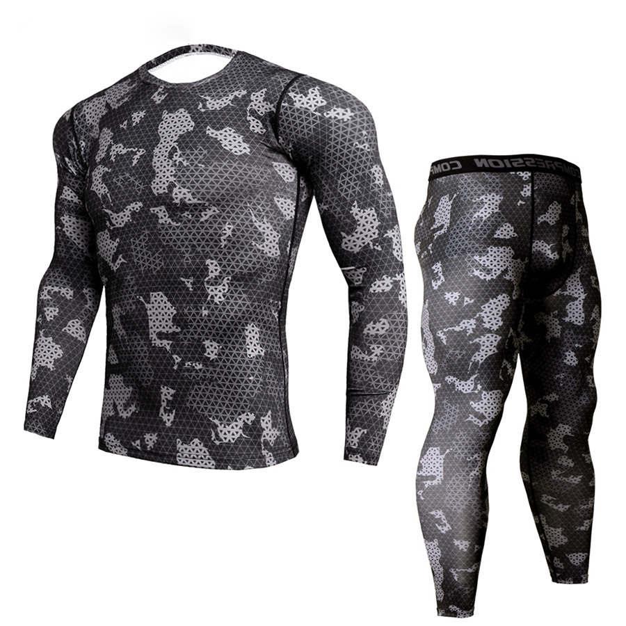 New Fitness Camo T Shirt Men Compression Shirt 2Pcs/sets Sportswear MMA Rashguard Mens Joggers Leggings Gyms Bodybuilding Tights ...