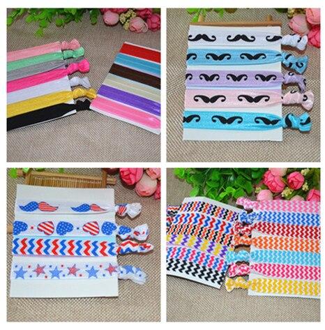 20pcs lot elastic headbands pure color mustache flag wave stripes
