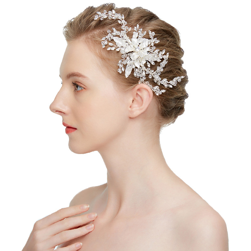 Gorgeous Handmade Silver Austrian Crystal Rhinestone Pearls Flower Wedding Hair Clip Barrettes Bridal Headpiece Hair Accessories все цены