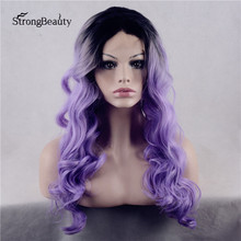 Strongbeauty Long Curly Purple Wig Synthetic Ombre Black to Purple/Violet Two Tone Lace Front Wig for Black Women
