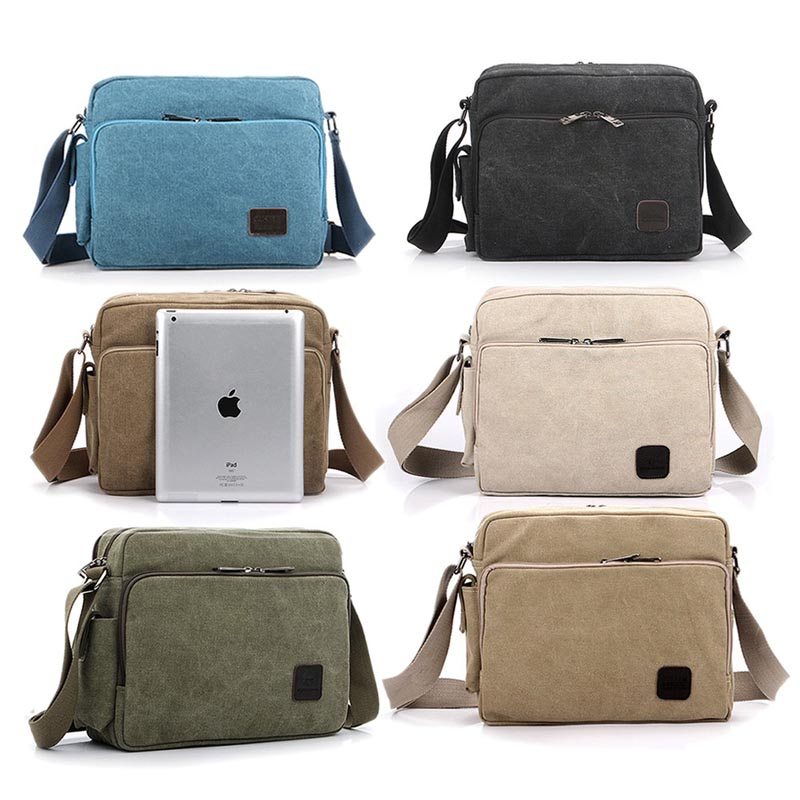 Canvas Vintage School Satchel Messenger Military Shoulder Leather Bags Men's - Julia's 2014 store